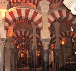 bosque de columnas en el interior de la Mezquita de Cordoba