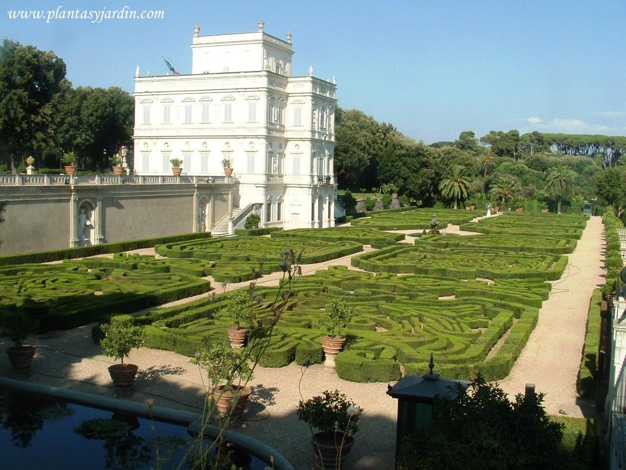 vista oeste de la Villa Pamphili y del Giardino Segreto y parterres