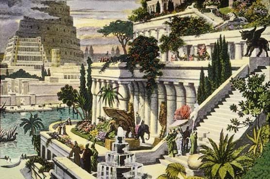 Una pintura del siglo XVI de los Jardines Colgantes de Babilonia (por Martin Heemskerck). Al fondo puede distinguirse la Torre de Babel.Foto: Wikipedia