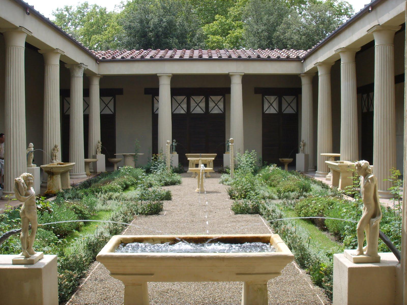 Reconstrucción del jardín romano de la Casa de los Vettii en Pompeya. Foto: Wikipedia