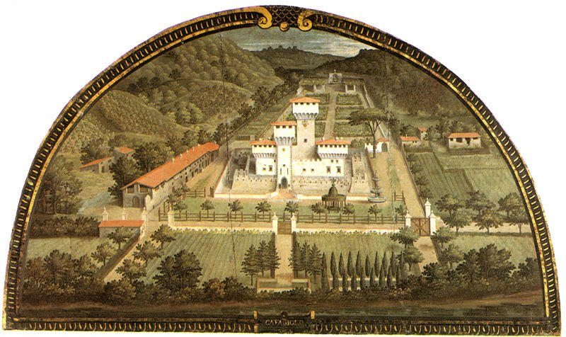 Villa Cafaggiolo detalle pintura de Giusto Utens 1559 Foto de Wikipedia