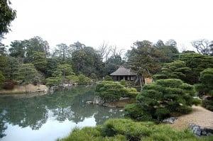 (*) vista del jardín y del lago en el Palacio Imperial de Katsura