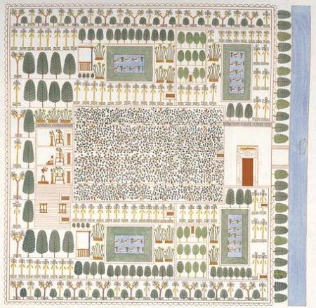 plano de un jardín-huerto del Antiguo Egipto, con un emparrado en el medio, alineaciones de Sicomoros, Palmeras datileras y Papiros, en una tumba de Tebas hacia el 1400 a.C.