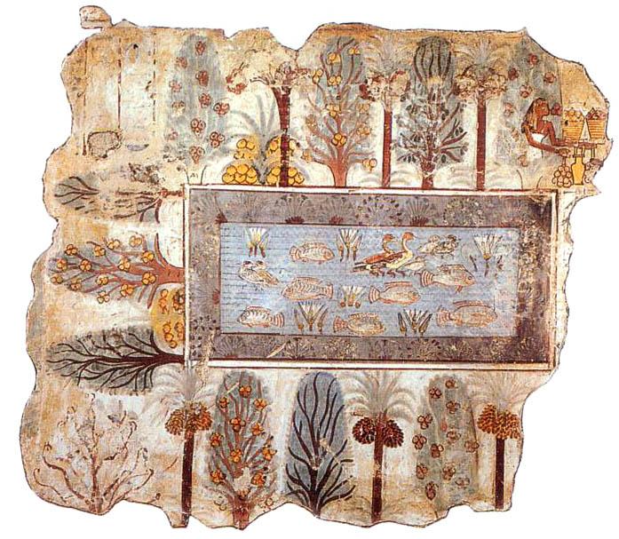 representación del clásico jardín egipcito, estanque con peces bordeado de especies vegetales