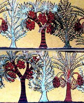Pintura mural de palmeras datileras y Sicomoro en alineaciones y manteniendo un ritmo