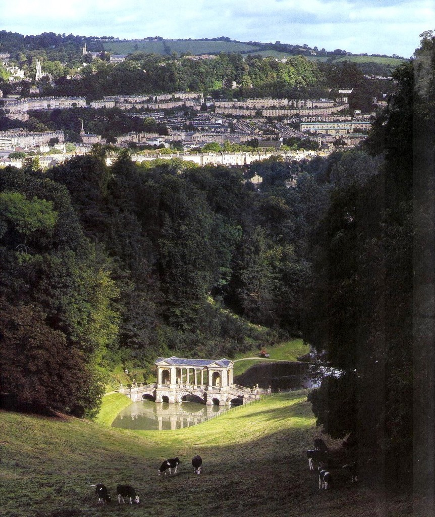 Prior Park, vista del castillo, el jardín y puente palladiano. Foto: Libro Gdes. Jardines de Europa-Ehrenfreid Kluckert.