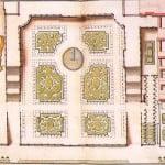 plano en acuarella de los Parterres de l'Orangerie-Versalles. Anónimo.