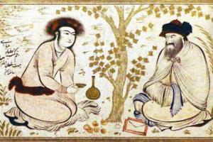 reproducción de hombres persas conversando bajo un árbol.