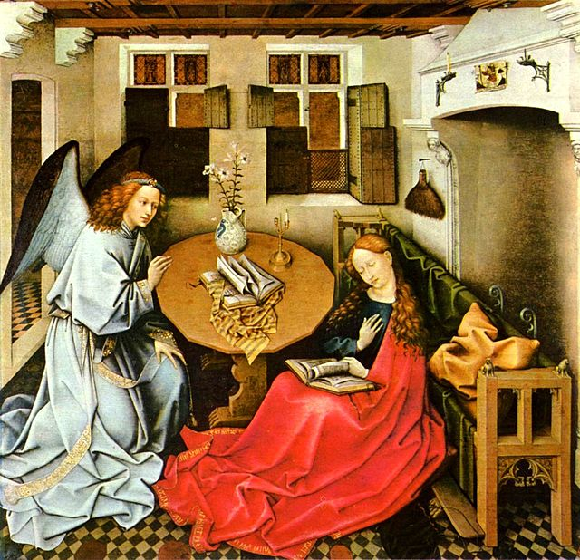 El Arcángel Gabriel anuncia a María que concebirá y dará luz al Hijo del Altísimo. Pintura en madera por Robert Campin, 1420-1440, Bruselas